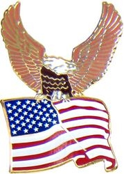 Eagle & United States Flag Pin (1 1/8 inch)