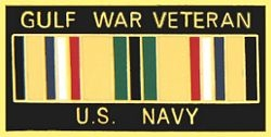 Gulf War Veteran United States Navy with Ribbon Pin (1 1/8 inch)