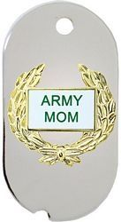 Army Mom with Wreath Dog Tag Key Ring