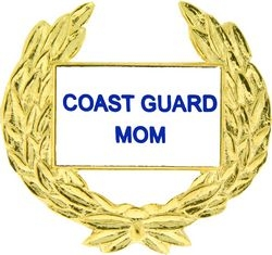 Coast Guard Mom with Wreath Pin (1 1/8 inch)