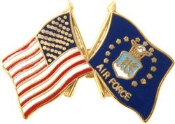 United States and United States Air Force Emblem Flag Pin (1 inch)
