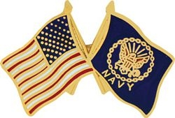 United States & Navy Crossed Flags Pin (1 inch)