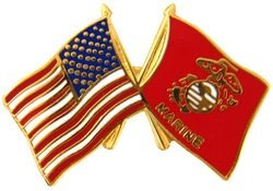United States & Marine Corps Crossed Flags Pin (1 inch)
