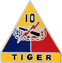 10th Armored Division Tiger Pin (1 inch)