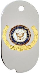 United States Navy Insignia with Wreath Dog Tag Necklace
