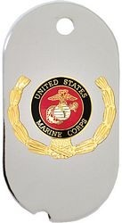 United States Marine Corps Insignia with Wreath Dog Tag Necklace