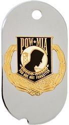 POW/MIA Symbol with Wreath Dog Tag Key Ring