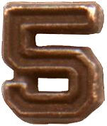 Bronze Numeral - 5 for Ribbon Bars, Mini Medals, and Full Size Medals ((3/16) inch)
