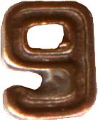 Bronze Numeral - 9 for Ribbon Bars, Mini Medals, and Full Size Medals ((3/16) inch)