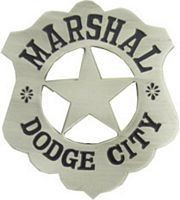 Dodge City Marshall Replica Badge - ANTIQUE SILVER