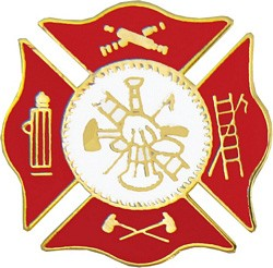 Fire Department Insignia Pin - RED (3/4 inch)