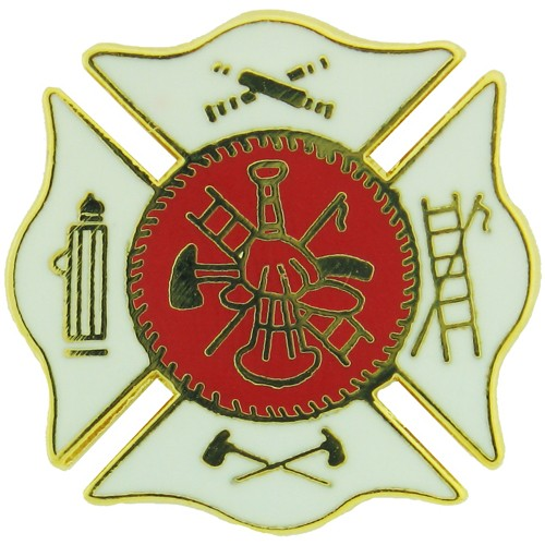 Fire Department Insignia Pin - WHITE (3/4 inch)