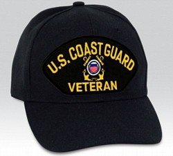 US Coast Guard Veteran Insignia Black Ball Cap Import