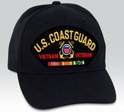 US Coast Guard Vietnam Veteran Insignia with Ribbons Black Ball Cap Import