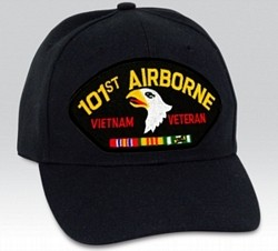 101st Airborne Vietnam Veteran with Ribbons Black Ball Cap Import