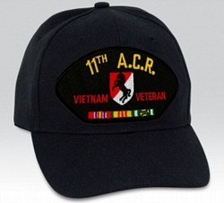 11th Armored Cavalry Regiment Vietnam Veteran with Ribbon Black Ball Cap Import