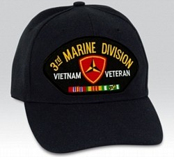3rd Marine Division Vietnam Veteran with Ribbons Black Ball Cap Import
