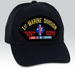 1st Marine Division Korean War Veteran with Ribbons Black Ball Cap Import