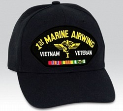 1st Marine Airwing Vietnam Veteran with Ribbons Black Ball Cap Import