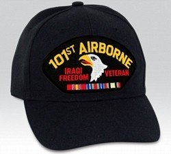 101st Airborne Iraqi Freedom Veteran with Ribbons Black Ball Cap Import