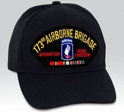 173rd Airborne Brigade Operation Iraqi Freedom w/ Ribbons Black Ball Cap Import
