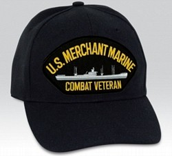 US Merchant Marine Combat Veteran with Ship Black Ball Cap Import