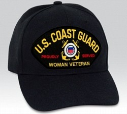 US Coast Guard Proudly Served Woman Veteran Insignia Black Ball Cap Import