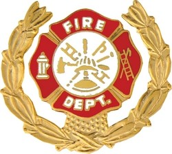 Fire Department Insignia with Wreath Pin (1 1/8 inch)