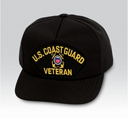 US Coast Guard Veteran Insignia Black Ball Cap US Made