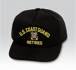 US Coast Guard Retired Insignia Black Ball Cap US Made