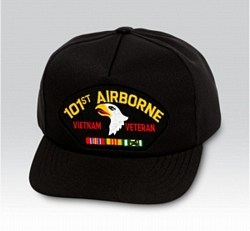 101st Airborne Vietnam Veteran with Ribbons Black Ball Cap US Made