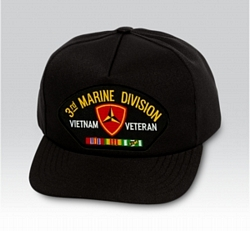 3rd Marine Division Vietnam Veteran with Ribbons Black Ball Cap US Made