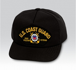 US Coast Guard Iraqi Freedom Veteran with Ribbons Black Ball Cap US Made