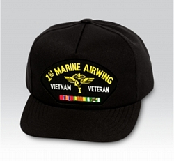 1st Marine Airwing Vietnam Veteran with Ribbons Black Ball Cap US Made