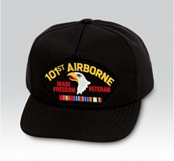 101st Airborne Iraqi Freedom Veteran with Ribbons Black Ball Cap US Made