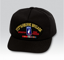 173rd Airborne Brigade Operation Iraqi Freedom w/ Ribbons Black Ball Cap US Made