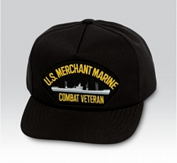 US Merchant Marine Combat Veteran with Ship Black Ball Cap US Made