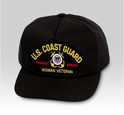 US Coast Guard Proudly Served Woman Veteran Insignia Black Ball Cap US Made