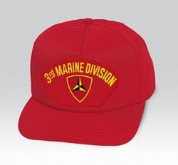 3rd Marine Division Insignia Red Ball Cap US Made