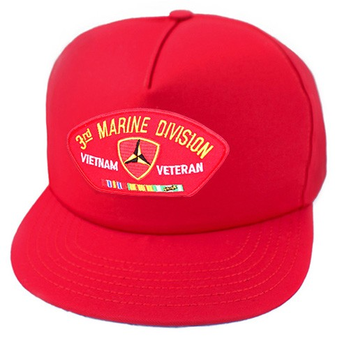 3rd Marine Division Vietnam Veteran w/ Ribbons Red Ball Cap US Made