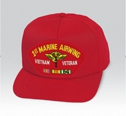 1st Marine Airwing Vietnam Veteran with Ribbons Red Ball Cap US Made
