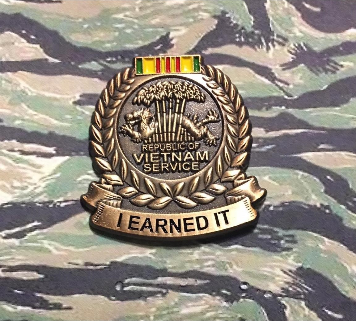 VIETNAM SERVICE MEDAL I EARNED IT PIN