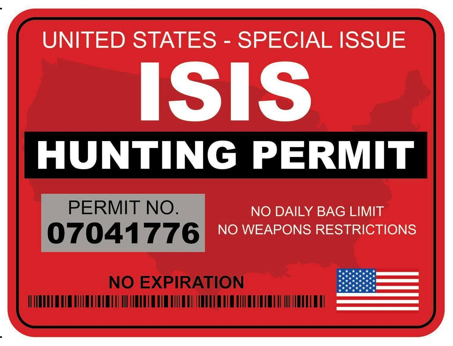ISIS HUNTING PERMIT DECAL/STICKER