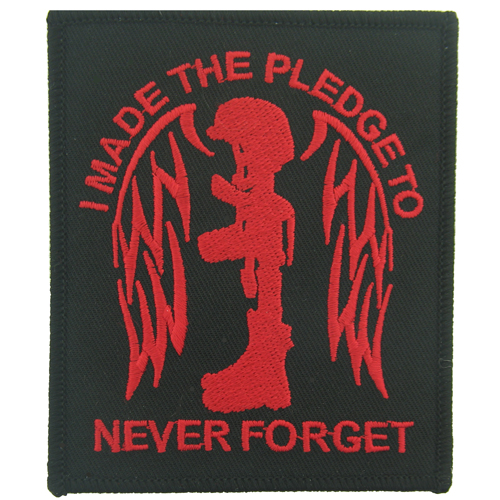 Pledge To Never Forget blk/red (3 3/8 inch)