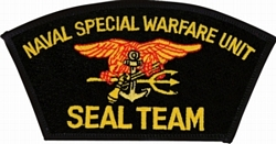 Naval Special Warfare Unit Seal Team Black Patch (4 inch)