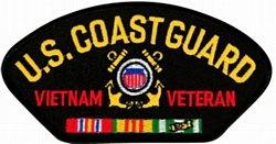 US Coast Guard Vietnam Veteran Insignia with Ribbons Black Patch (4 inch)