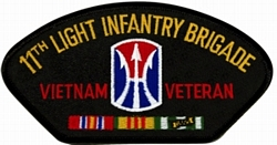11th Light Infantry Brigade Vietnam Veteran Black Patch (4 inch)