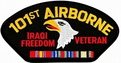 101st Airborne Iraqi Freedom Veteran with Ribbons Black Patch (4 inch)