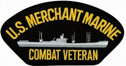 US Merchant Marine Combat Veteran with Ship Black Patch (4 inch)