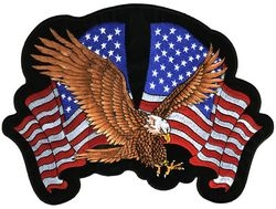 "2 Flags w/ Eagle Back Patch (4 3/8 x 3 3/8"")"